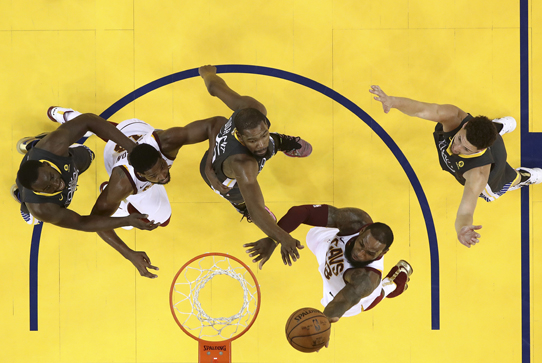 Cleveland Cavaliers forward LeBron James shoots against the Golden State Warriors.